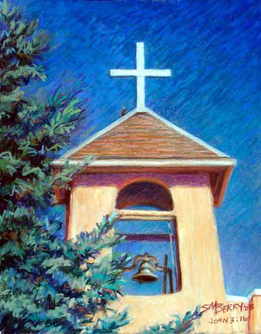 Taos Mission Pastel Painting