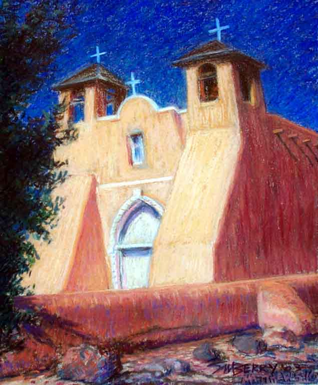 Pastel Painting of Taos Mission